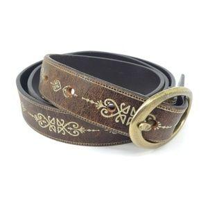Banana Republic Italian Leather Brass Buckle Belt